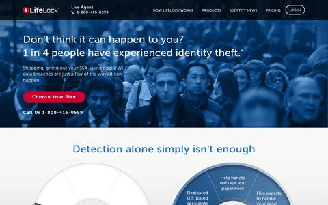 Screenshot of Home Page lifelock.com - Identity Theft Protection From ID & Credit Fraud | LifeLock - captured Nov. 5, 2015