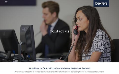 Screenshot of Contact Page dexters.co.uk - Contact Us | Dexters London Estate Agents - captured Nov. 22, 2016