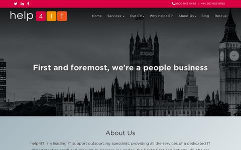 Screenshot of About Page help4it.co.uk - Outsourced IT support - help4IT - captured Dec. 9, 2015