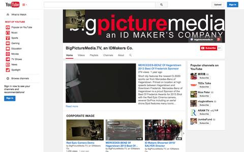 Screenshot of YouTube Page youtube.com - BigPictureMedia.TV, an IDMakers Co.  - YouTube - captured Oct. 23, 2014