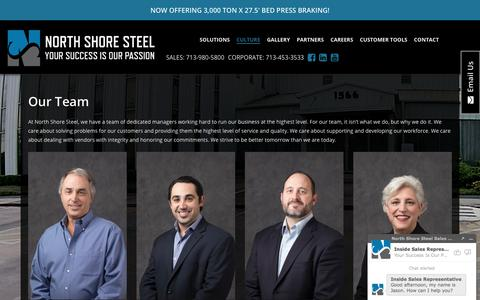 Screenshot of Team Page nssco.com - North Shore Steel - captured Sept. 1, 2017
