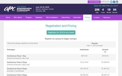 Screenshot of Pricing Page apccanada.com - Registration and Pricing | APC Canada - captured Oct. 3, 2018