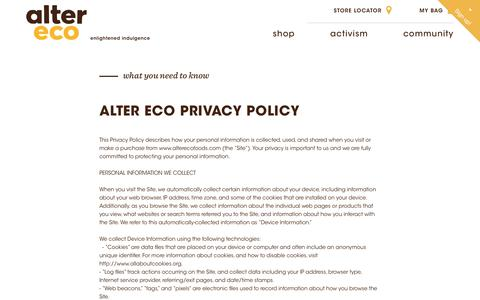 Screenshot of Privacy Page alterecofoods.com - Privacy Policy                      – Alter Eco Foods - captured July 13, 2018