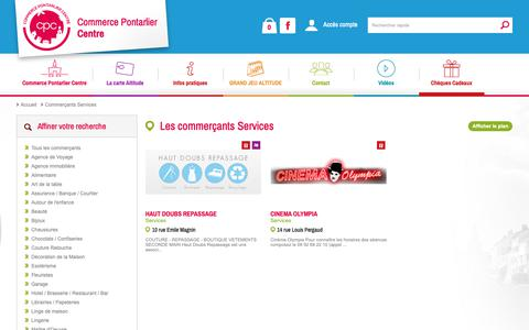 Screenshot of Services Page commerce-pontarlier.com - Les commerçants Services - Commerce Pontarlier Centre - captured Nov. 24, 2018