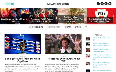 Screenshot of Blog sling.com - What's On Sling - Sports, Shows and Movies on Sling TV - captured Dec. 3, 2017