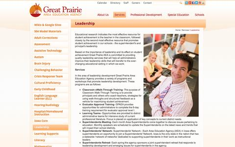 Screenshot of Team Page gpaea.org - Leadership - Great Prairie Area Education Agency - captured Oct. 3, 2014