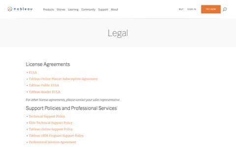 Screenshot of Terms Page tableau.com - Legal   Tableau Software - captured Jan. 20, 2017