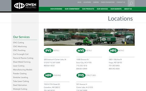 Screenshot of Locations Page owenind.com - Locations - Owen Industries - captured Oct. 20, 2018