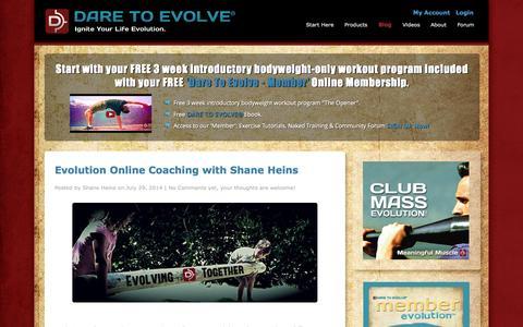 Screenshot of Blog daretoevolve.tv - Blog - Dare To Evolve - captured Sept. 30, 2014