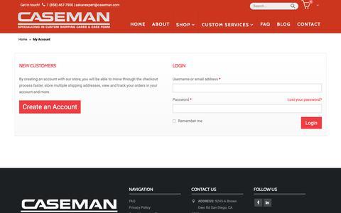 Screenshot of Login Page caseman.com - My Account | Caseman - captured Sept. 27, 2018