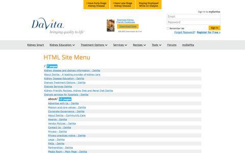 Screenshot of Site Map Page davita.com - SiteMap - DaVita - captured Jan. 28, 2016