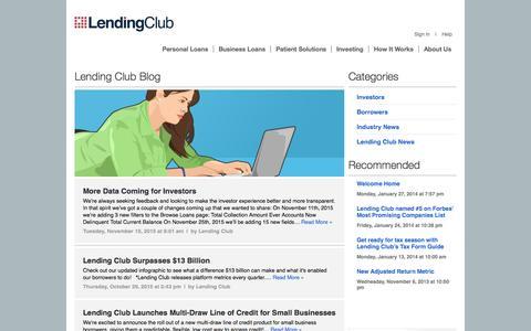 Screenshot of Blog lendingclub.com - Personal Loans, Investing & Peer Lending Blog - Lending Club - captured Nov. 18, 2015
