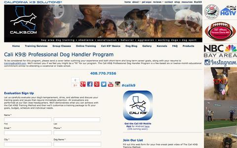 Screenshot of Jobs Page calik9.com - Careers    Dog Training San Jose - Bay Area Dog Trainer - Cali K9® - captured Nov. 1, 2014