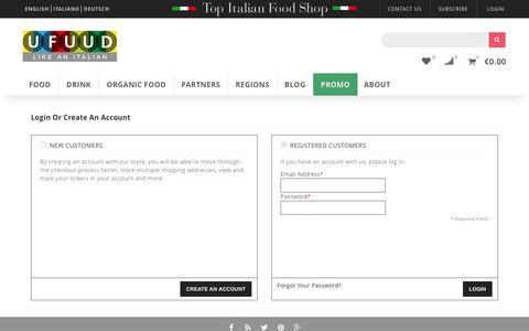 Screenshot of Login Page ufuud.com - Customer Login    UFUUD - captured July 21, 2016