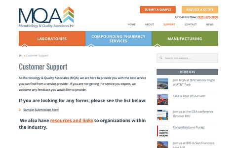 Screenshot of Support Page microqa.com - Customer Support - Microbiology & Quality Associates - captured Oct. 18, 2018