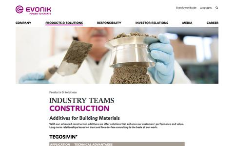 Additives for Building Materials - Construction Industry - Evonik Industries AG