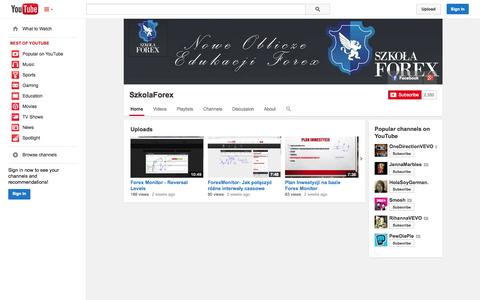 Screenshot of YouTube Page youtube.com - SzkolaForex  - YouTube - captured Oct. 26, 2014