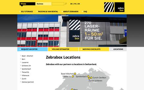 Screenshot of Locations Page zebrabox.ch - Our locations - your expert for individual storage | zebrabox.ch - captured Nov. 12, 2017