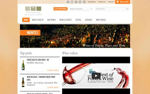 Screenshot of Home Page trialto.com - Trialto - Wines of People, Place and Time - Home - captured Feb. 25, 2016