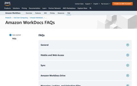 Screenshot of FAQ Page amazon.com - Amazon WorkDocs FAQs - captured May 8, 2019