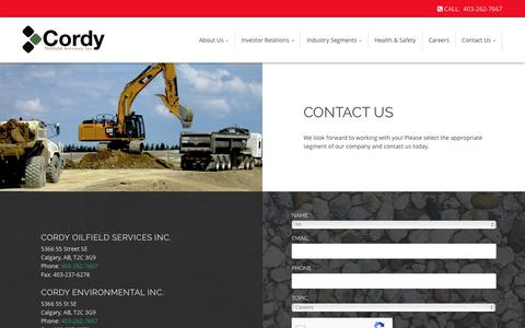 Screenshot of Contact Page cordy.ca - Cordy Oilfield Services Inc. | Calgary - Alberta | Contact - captured Aug. 30, 2017