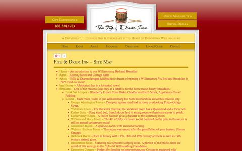 Screenshot of Site Map Page fifeanddruminn.com - Navigate Through the Pages of Our Williamsburg Bed and Breakfast Website - captured Sept. 30, 2014