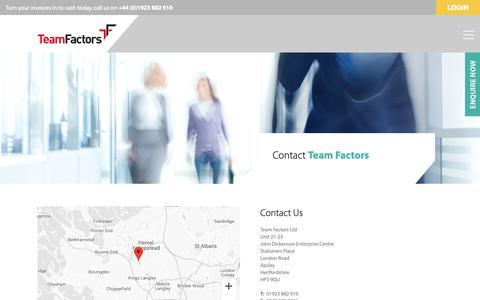 Screenshot of Contact Page teamfactors.co.uk - Team Factors - Contact - captured Oct. 18, 2018
