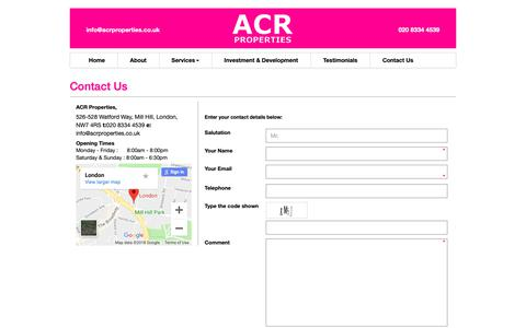Screenshot of Contact Page acrproperties.co.uk - Estate & Lettings Agents in Finchley & Mill Hill, N3, N10 - captured Oct. 2, 2018
