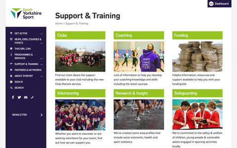 Screenshot of Support Page sysport.co.uk - Support & Training - South Yorkshire Sport - captured Feb. 16, 2016
