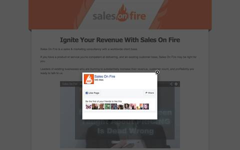 Screenshot of Home Page sales-on-fire.com - SALES ON FIRE   Unbelievably Powerful Sales Training - captured Nov. 18, 2016