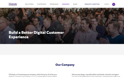 Screenshot of About Page clicktale.com - Clicktale: Build a better online customer experience - captured Dec. 2, 2019
