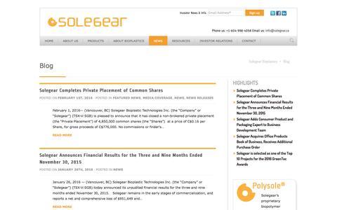 Screenshot of Press Page solegear.ca - News + Views - Solegear Bioplastics - captured Feb. 15, 2016