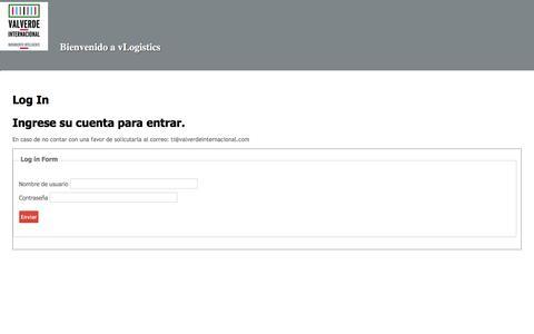 Screenshot of Login Page valverdeinternacional.com - Valverde Internacional - @Page.Title - captured Sept. 20, 2018