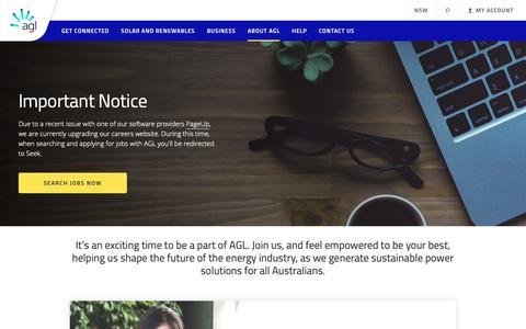 Screenshot of Jobs Page agl.com.au - Careers | AGL - captured Oct. 7, 2018