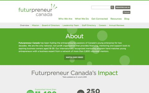 Screenshot of About Page futurpreneur.ca - About - Futurpreneur Canada - captured Sept. 24, 2018