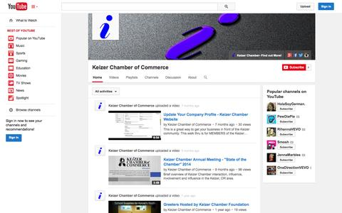 Screenshot of YouTube Page youtube.com - Keizer Chamber of Commerce  - YouTube - captured Oct. 23, 2014