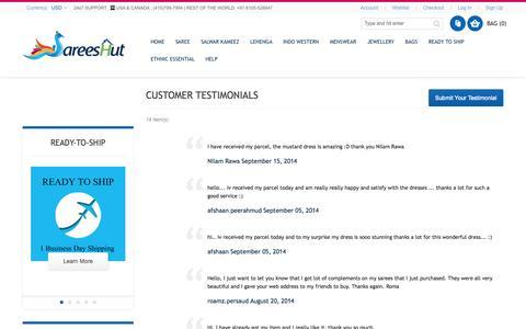 Screenshot of Testimonials Page sareeshut.com - Testimonial - captured Sept. 30, 2014