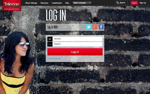 Screenshot of Login Page tallenge.com - Tallenge - Log In - captured Oct. 26, 2015