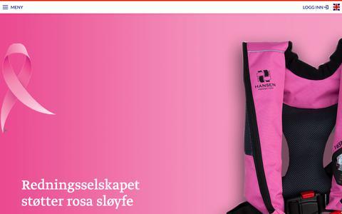 Screenshot of Home Page redningsselskapet.no - Redningsselskapet støtter rosa sløyfe - Redningsselskapet - captured Oct. 20, 2018