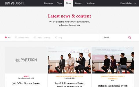 Screenshot of Press Page partechventures.com - News | Partech Ventures - captured Oct. 20, 2016