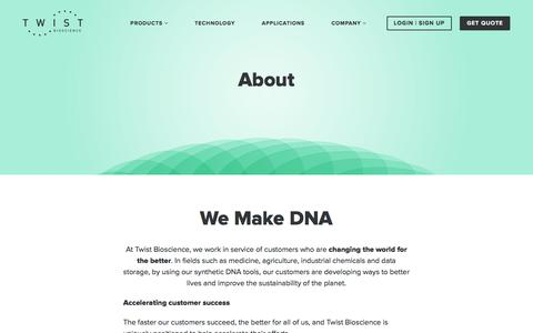 Screenshot of About Page twistbioscience.com - Twist Bioscience | About Us - captured July 13, 2018