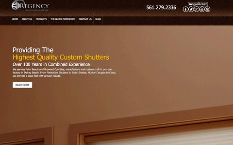 Screenshot of Home Page regencyshutter.com - Regency Shutter & Shade | Window Treatments | Florida Shutters - captured Oct. 7, 2014