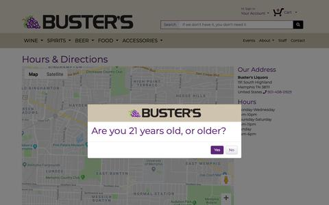Screenshot of Maps & Directions Page bustersliquors.com - Directions - Buster's Liquors & Wines - captured Oct. 7, 2018