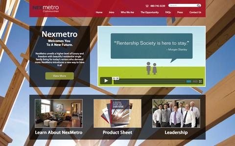 Screenshot of Home Page nexmetro.com - Luxury Single Family Residential Rental Homes, by NexMetro - captured Oct. 7, 2014