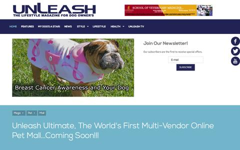 Screenshot of Home Page unleashmagazine.com - A Trendy Modern Dog Magazine for Dog Owners - captured Oct. 1, 2015