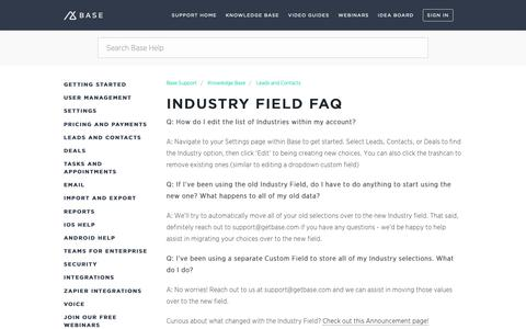 Screenshot of Support Page getbase.com - Industry Field FAQ – Base Support - captured Oct. 9, 2018
