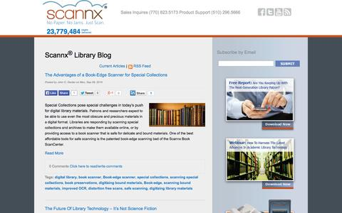 Screenshot of Blog scannx.com - The Book Scanning Blog: Library Technology Updates From Scannx - captured Sept. 17, 2014