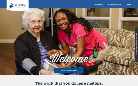 Screenshot of Jobs Page sagora.com - Sagora Senior Living Jobs: Overview | Sagora Senior Living - captured Oct. 1, 2018