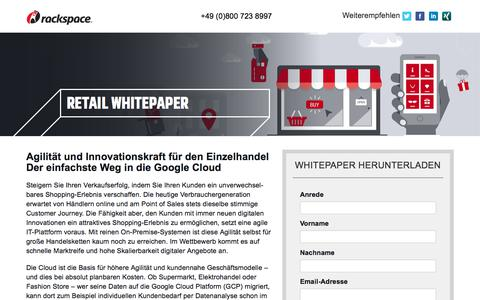 Screenshot of Landing Page rackspace.com - Whitepaper | Google Cloud (GCP) für den Einzelhandel - captured Sept. 22, 2018
