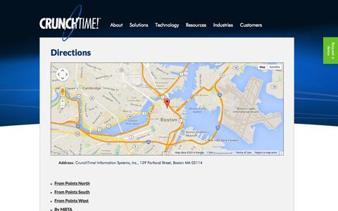 Screenshot of Maps & Directions Page crunchtime.com - Directions to CrunchTime! - captured Oct. 3, 2014